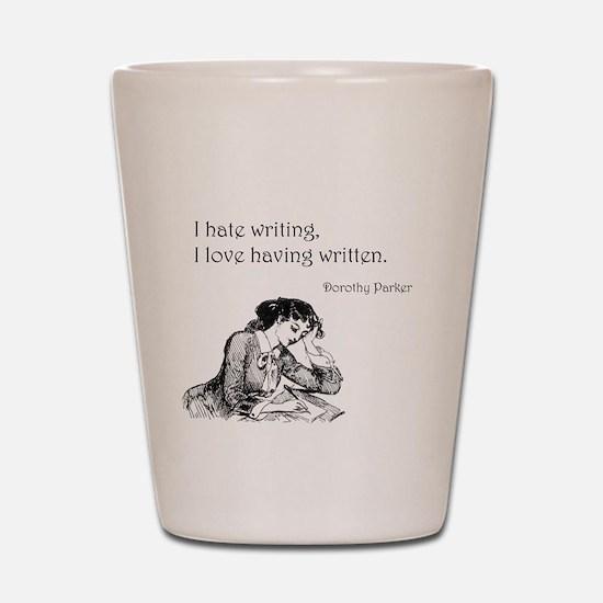 Love/Hate Writing Shot Glass