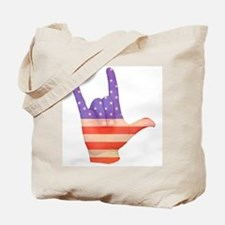 USA Flag ILY sign language hand Tote Bag