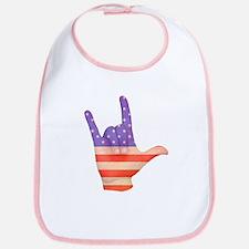 USA Flag ILY sign language hand Bib