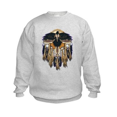 Native Crow Mandala Kids Sweatshirt
