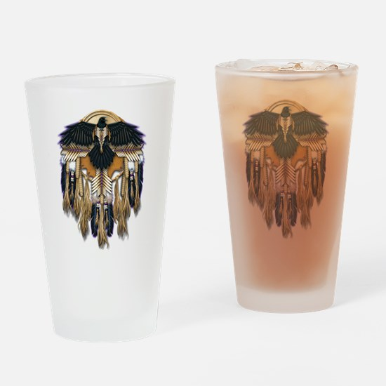 Native Crow Mandala Drinking Glass
