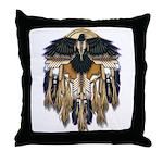 Native Crow Mandala Throw Pillow