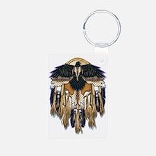 Native Crow Mandala Aluminum Photo Keychain