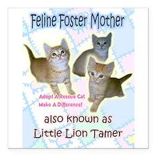 Feline Foster Mother Square Car Magnet 3&Quot; X 3