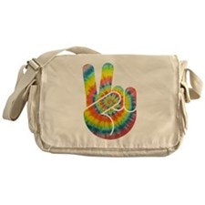 Tie-Dye Peace Hand Messenger Bag