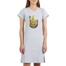 Tie-Dye Peace Hand Women's Nightshirt