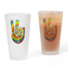 Tie-Dye Peace Hand Drinking Glass