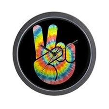 Tie-Dye Peace Hand Wall Clock