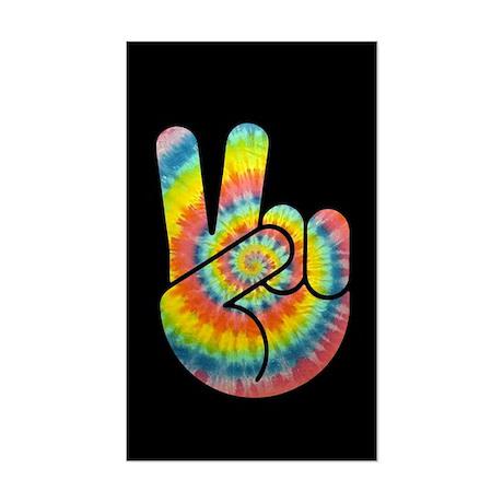 Tie-Dye Peace Hand Sticker (Rectangle)