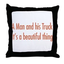 A Man and His Truck Throw Pillow