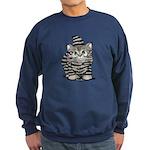 Tabby Cutie Face Kitten Sweatshirt (dark)