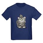 Tabby Cutie Face Kitten Kids Dark T-Shirt