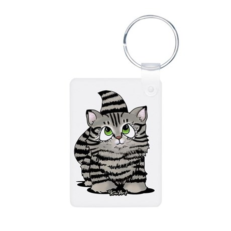 Tabby Cutie Face Kitten Aluminum Photo Keychain