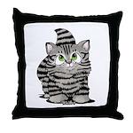 Tabby Cutie Face Kitten Throw Pillow