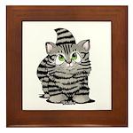 Tabby Cutie Face Kitten Framed Tile