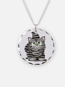Tabby Cutie Face Kitten Necklace