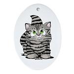 Tabby Cutie Face Kitten Ornament (Oval)