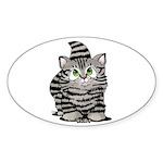 Tabby Cutie Face Kitten Sticker (Oval 10 pk)