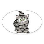 Tabby Cutie Face Kitten Sticker (Oval 50 pk)