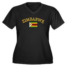 Zimbabwe Football Women's Plus Size V-Neck Dark T-