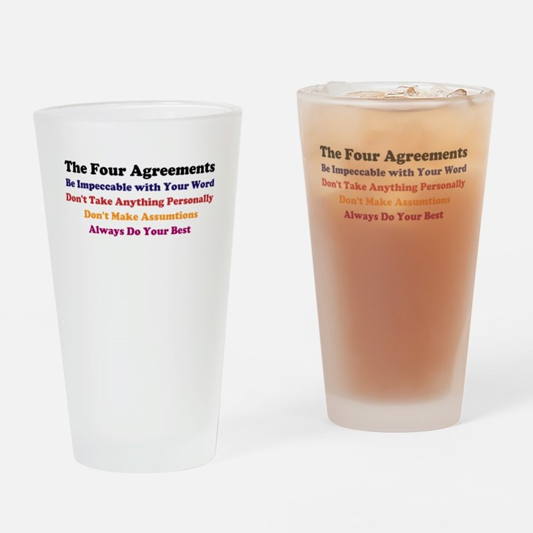 4 Agreements Drinking Glass