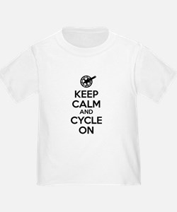 Keep Calm and Cycle On Black Text T