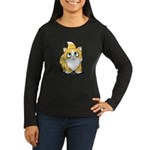 Yellow Tabby Cutie Cat Women's Long Sleeve Dark T-