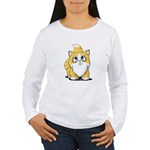 Yellow Tabby Cutie Cat Women's Long Sleeve T-Shirt