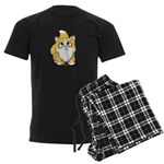 Yellow Tabby Cutie Cat Men's Dark Pajamas