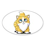 Yellow Tabby Cutie Cat Sticker (Oval 50 pk)