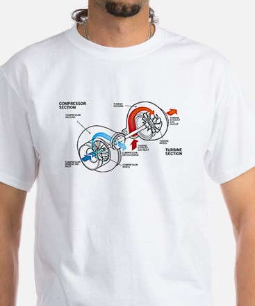 Turbocharger White T-Shirt