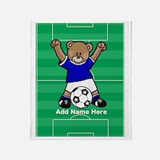 Personalized kids soccer bear Throw Blanket