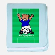 Personalized kids soccer bear baby blanket