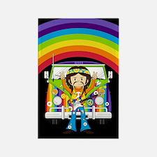Hippie and Camper Van Rectangle Magnet