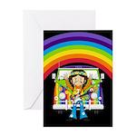 Hippie and Camper Van Greeting Card