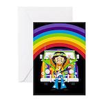 Hippie and Camper Van Greeting Cards (Pk of 10)