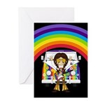 Hippie Boy and Camper Van Greeting Cards (10 Pk)