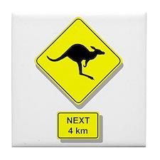 Kangaroos Road Sign Tile Coaster