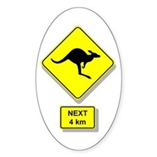 Kangaroos Road Sign Oval Decal