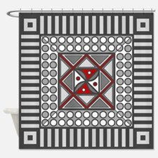 Alternating Geometric Shower Curtain