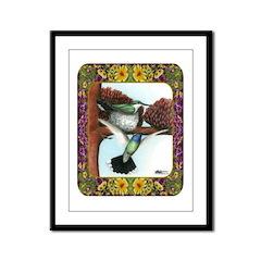 Blue Throated Hummingbirds Framed Panel Print