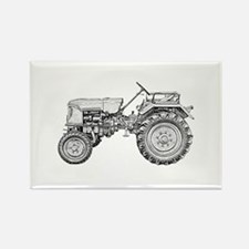 Antique Tractor in b&w Rectangle Magnet