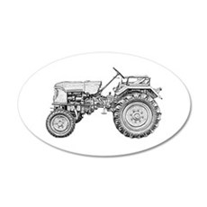 Antique Tractor in b&w Wall Decal