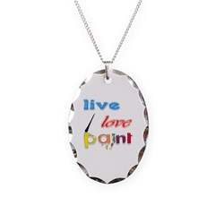 Live, Love, Paint Necklace Oval Charm