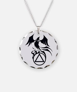A.A. Logo Phoenix B&W - Necklace Circle Charm
