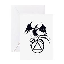 A.A. Logo Phoenix B&W - Greeting Card