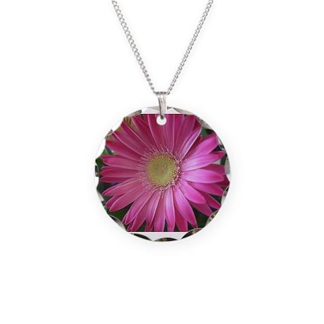 Pink Daisy Princess Necklace Circle Charm