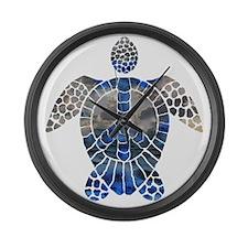 Sea Turtle Peace Large Wall Clock