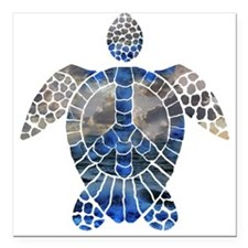 "Sea Turtle Peace Square Car Magnet 3"" x 3"""