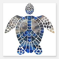 """Sea Turtle Peace Square Car Magnet 3"""" x 3"""""""
